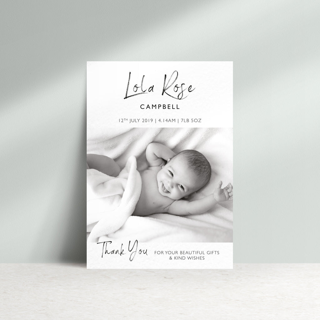 Personalised New Baby Photo Thank You Card - Ditsy Chic