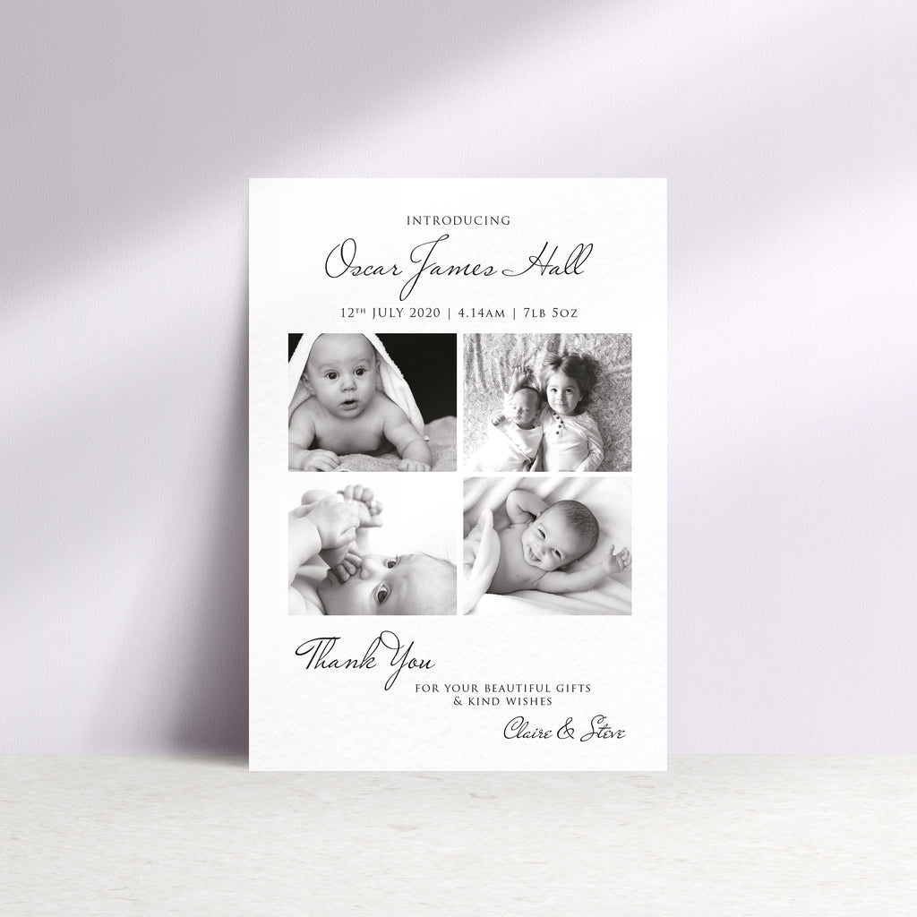 Personalised Multi Baby Photo Thank You Card - Ditsy Chic