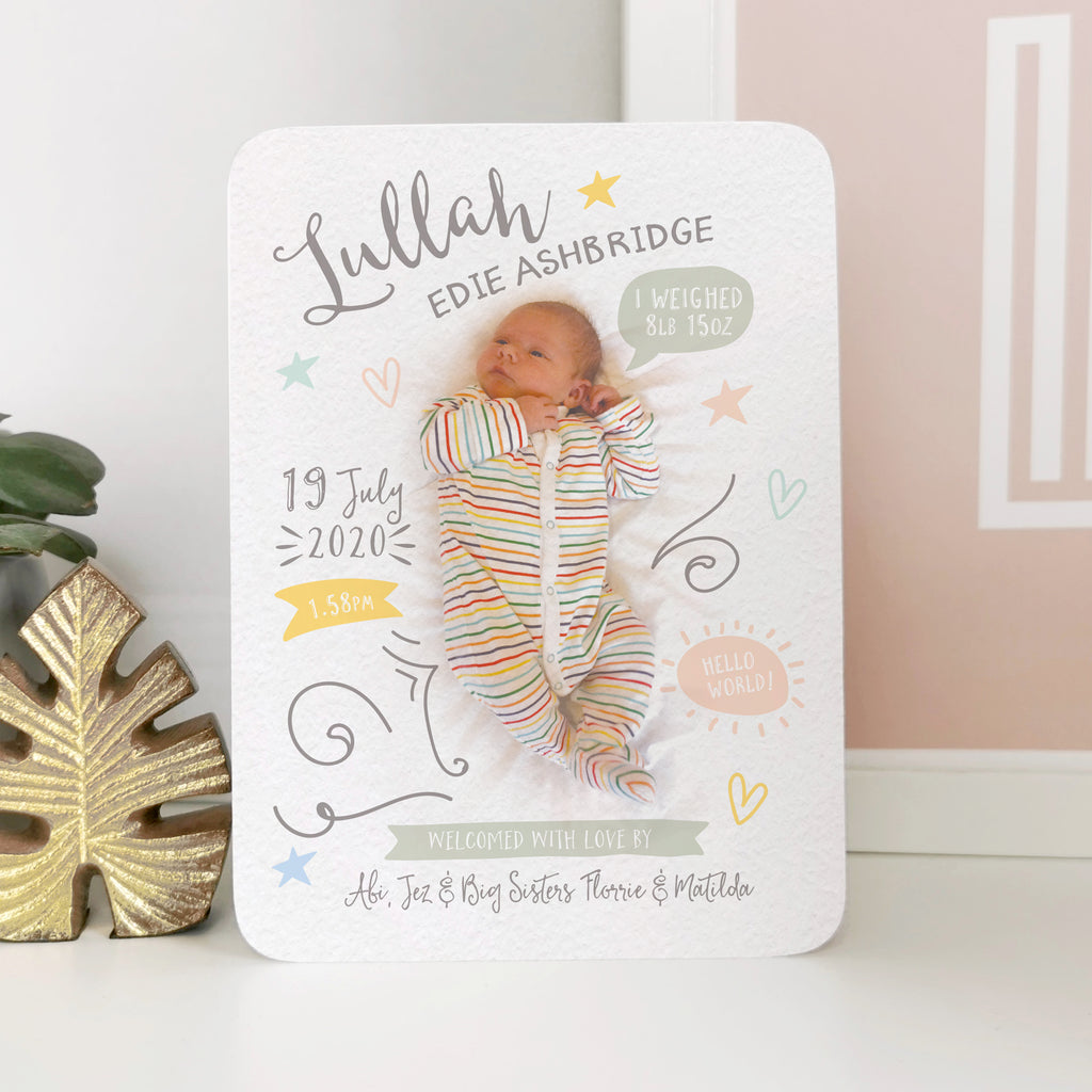 Personalised Photo Baby Announcement Card - Ditsy Chic