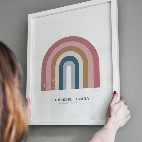 Personalised Rainbow Family Tree Print - Ditsy Chic