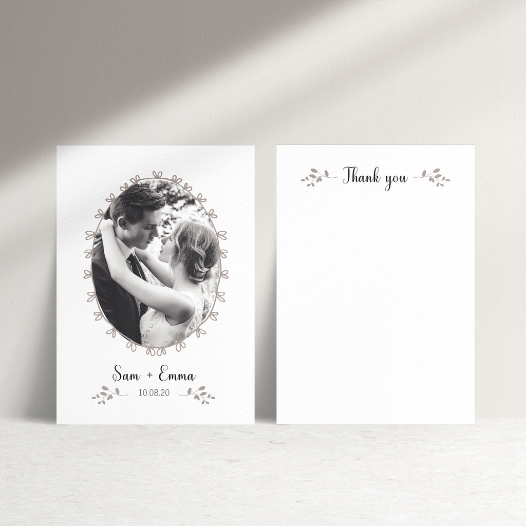 Wedding Photo Personalised Thank You Card - Ditsy Chic
