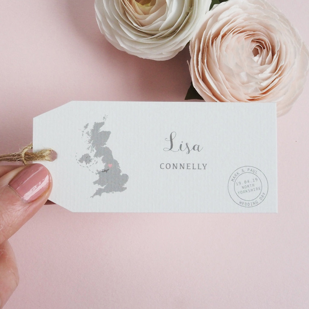 Map Wedding Travel Tag Place Card - Ditsy Chic