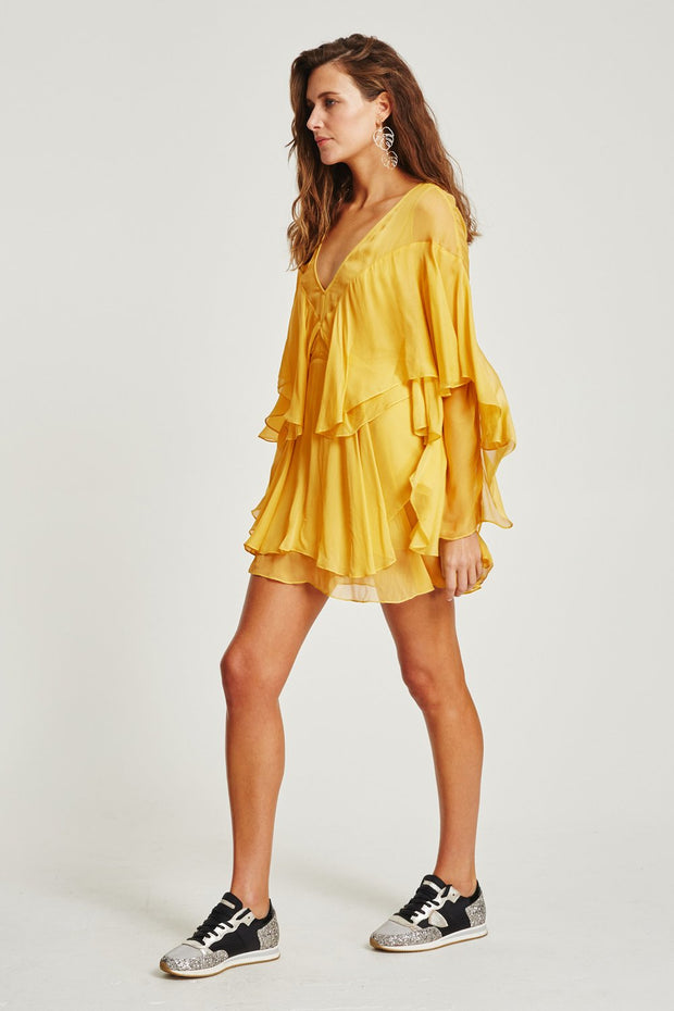 VÉSTIRE - San Felipe Ruffled Mini Dress, Citrus - Makers On Mount
