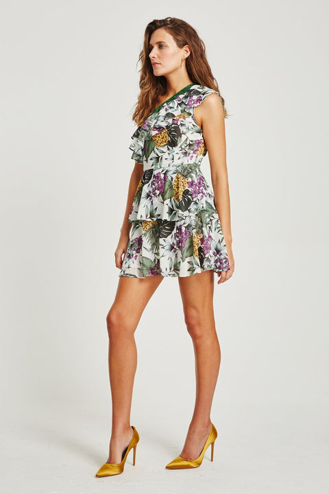 VÉSTIRE - Alegrias Ruffles One Shoulder Dress, White Print - Makers On Mount