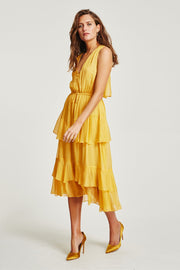 VÉSTIRE - San Felipe Ruffled Midi Dress, Citrus - Makers On Mount