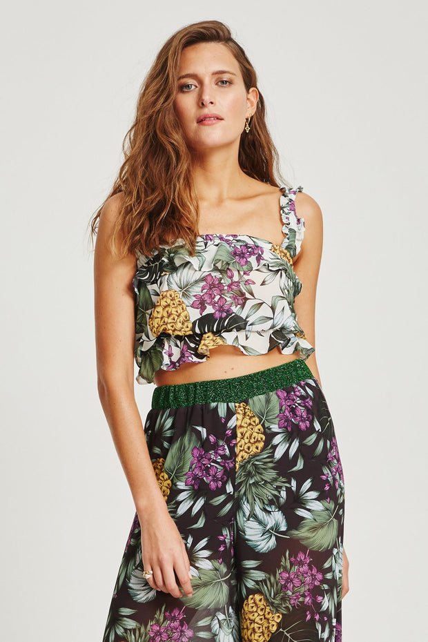 VÉSTIRE - Alegrias Cropped Top, White Print - Makers On Mount