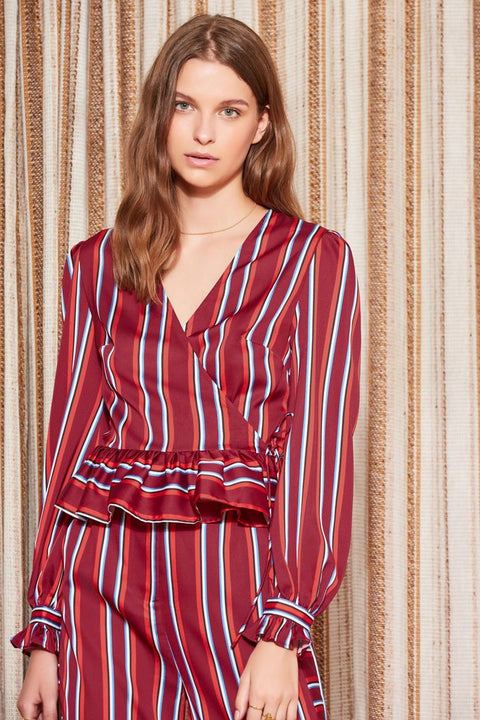 THE FIFTH - Volley Stripe Wrap Top, Wine w/ Red - Makers On Mount