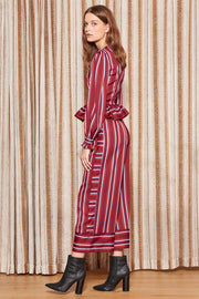 THE FIFTH - Volley Stripe Wrap Top, Wine w/ Red