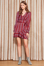THE FIFTH - Volley Stripe Wrap Dress, Wine w/ Red - Makers On Mount