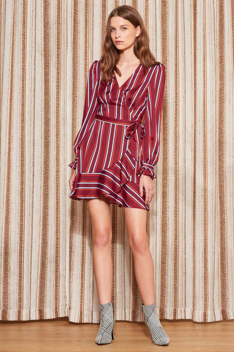 THE FIFTH - Volley Stripe Wrap Dress, Wine w/ Red