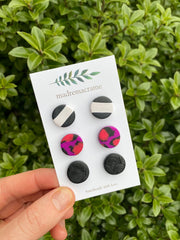 MADREMACRAME - Polymer Clay Stud Packs, Purple & Pink
