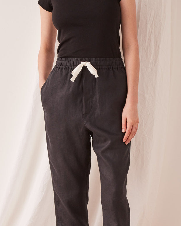 ASSEMBLY LABEL - Anya Linen Pant, Black