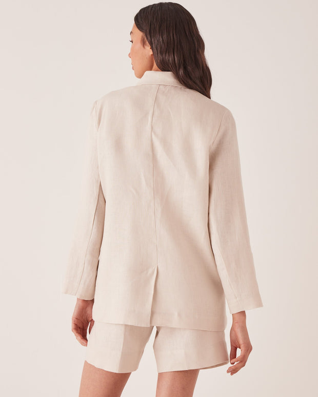 ASSEMBLY LABEL - Double Breasted Linen Blazer, Ivory
