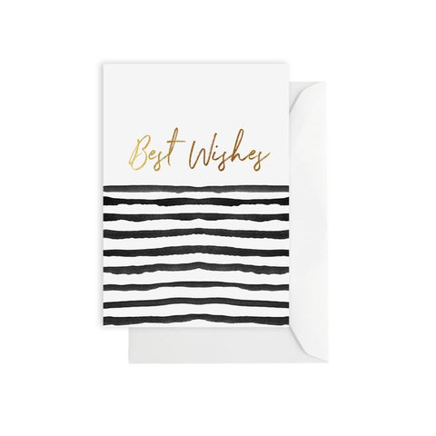 ELM PAPER - Best Wishes Black Stripe, Card