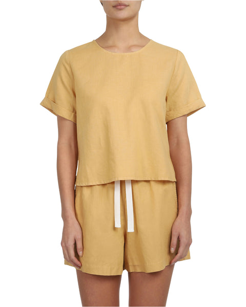 NUDE LUCY - Marley Linen Top, Washed Mustard - Makers On Mount
