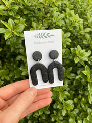 MADREMACRAME - Polymer Clay Large Earrings, Black Patterned Arches (Nickel Free)