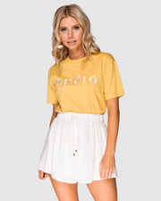 APÉRO - Embroidered Tee, Yellow/White
