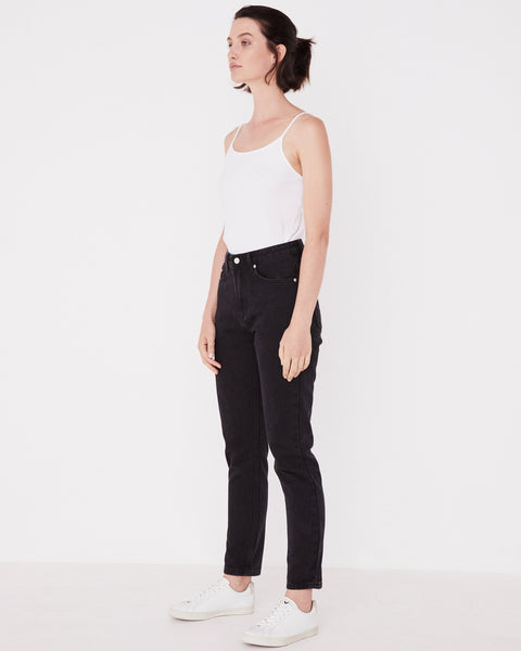 ASSEMBLY LABEL - High Waisted Rigid Jean, Washed Black - Makers On Mount