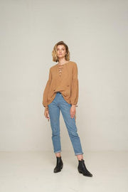 RUE STIIC - Cheyenna Lace Up Blouse, Sand - Makers On Mount