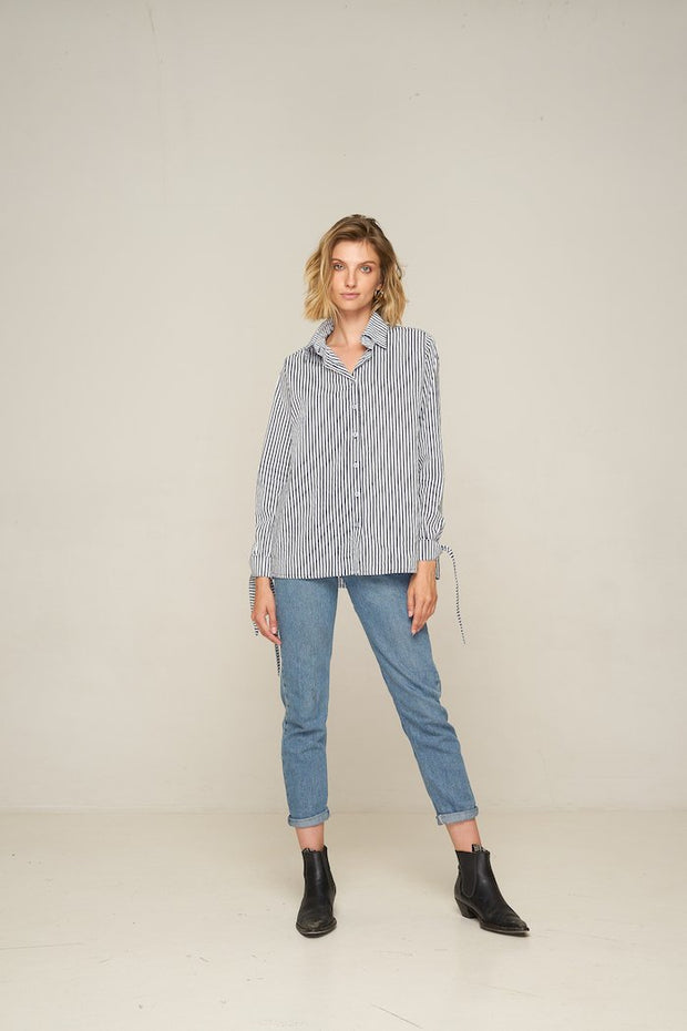 RUE STIIC - Kansas Shirt, Navy Stripe - Makers On Mount