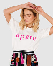 APÉRO - Beaded Tee, Off White / Hot Pink