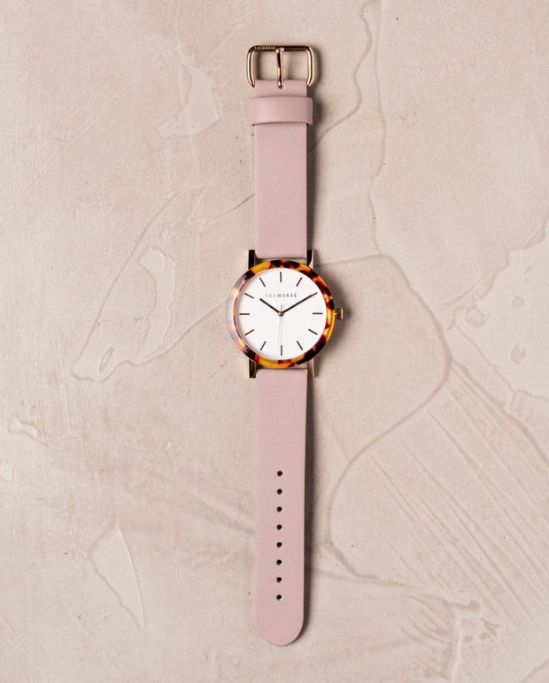 THE HORSE - The Resin Watch, Tortoise Shell/White Dial/Blush Band - Makers On Mount