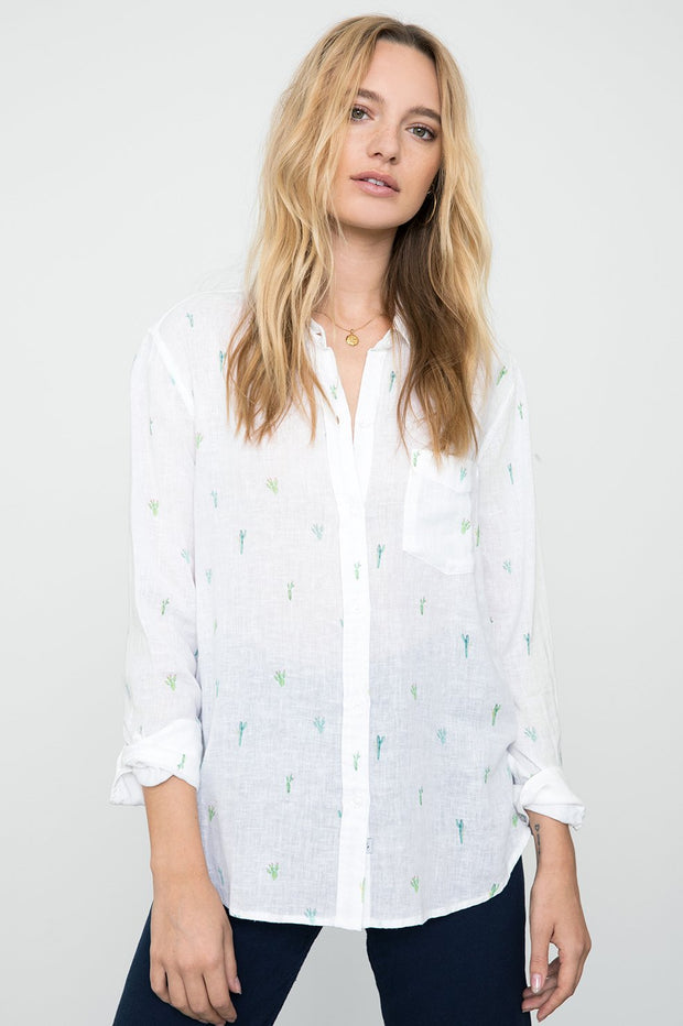 RAILS - Charli, White Watercolour Cactus Shirt - Makers On Mount