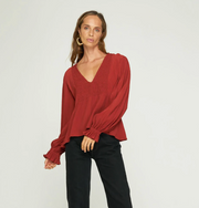 RUE STIIC -  Delilah Blouse, Cranberry