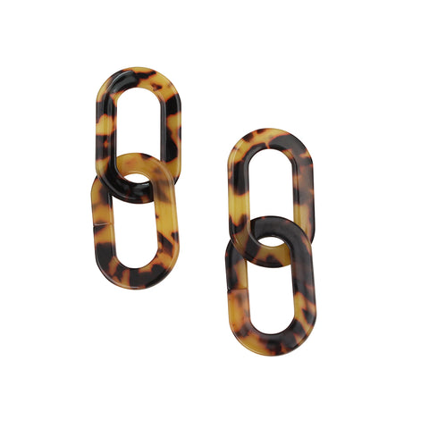 JOLIE & DEEN - Tara Earrings, Brown Tortoise Shell
