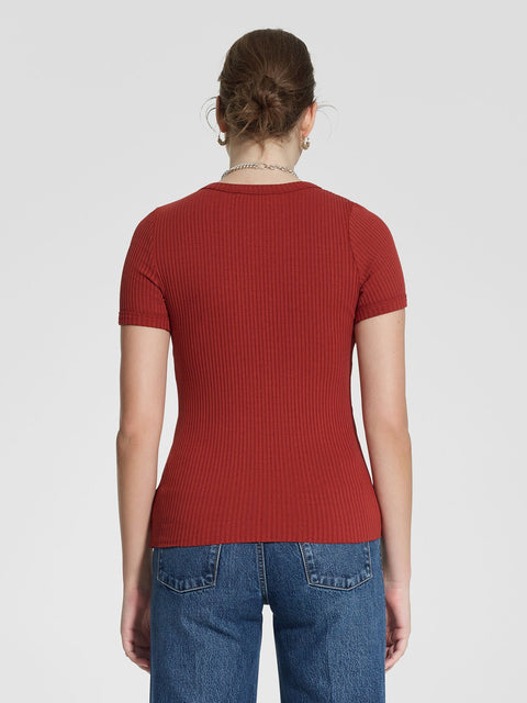 NOBODY - Luxe Rib Bound Tee, Rust - Makers On Mount