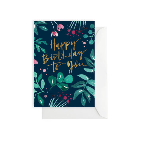ELM PAPER - Greenery Birthday Navy, Card