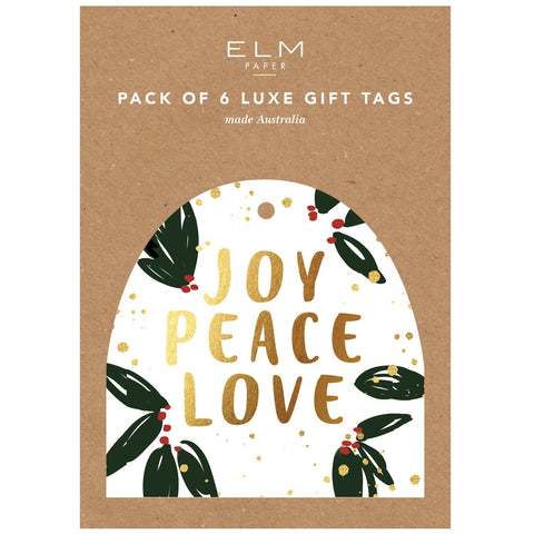 ELM PAPER - Joy, Peace & Love, Pack Of 6 Tags