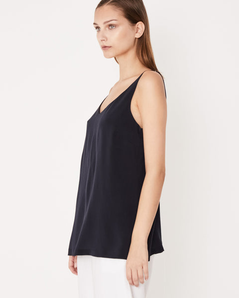 ASSEMBLY LABEL - Silk Deep V Cami, Worn Navy