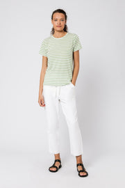NUDE LUCY - Harper Basic Crew Neck Tee, Apple Stripe