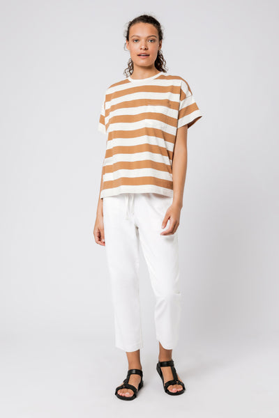 NUDE LUCY - Parker Stripe Tee, Tobacco