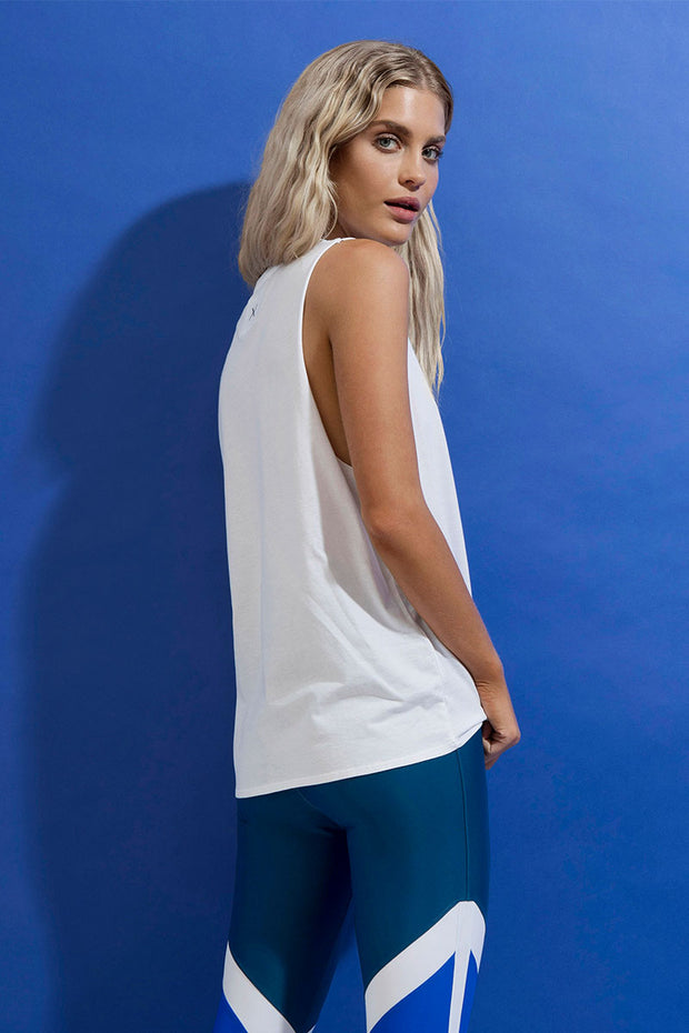 FIRST BASE - Narrow Muscle Tank, White