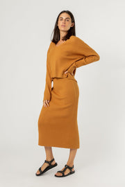 NUDE LUCY - Dylan Knit Skirt, Deep Mustard