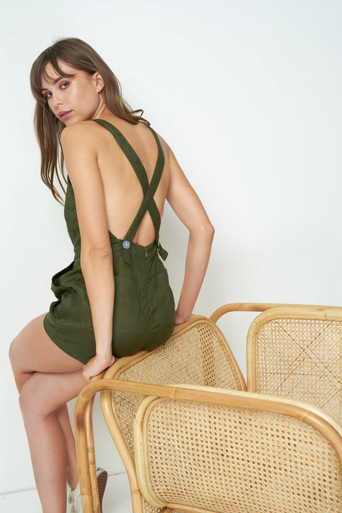 RUE STIIC - Nora Romper, Mustang Green - Makers On Mount