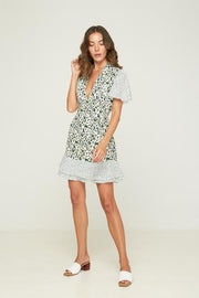 RUE STIIC -  Palisades Mini Dress, Emerald Posy Floral Confetti Mix
