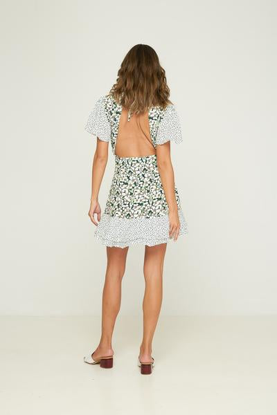 RUE STIIC -  Palisades Mini Dress, Emerald Posy Floral Confetti Mix - Makers On Mount