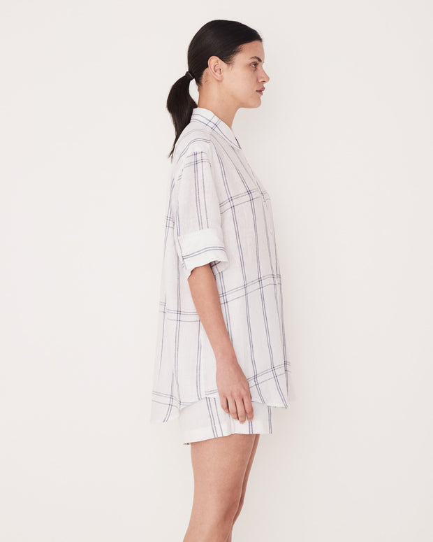 ASSEMBLY LABEL - Short Sleeve Shirt, True Navy Check - Makers On Mount