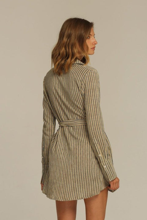 RUE STIIC - Joaquin Wrap Dress, New Sand Stripe - Makers On Mount