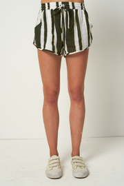 RUE STIIC - Willa Shorts, Presley Stripe - Mustang Green