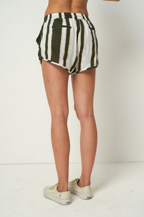RUE STIIC - Willa Shorts, Presley Stripe - Mustang Green - Makers On Mount