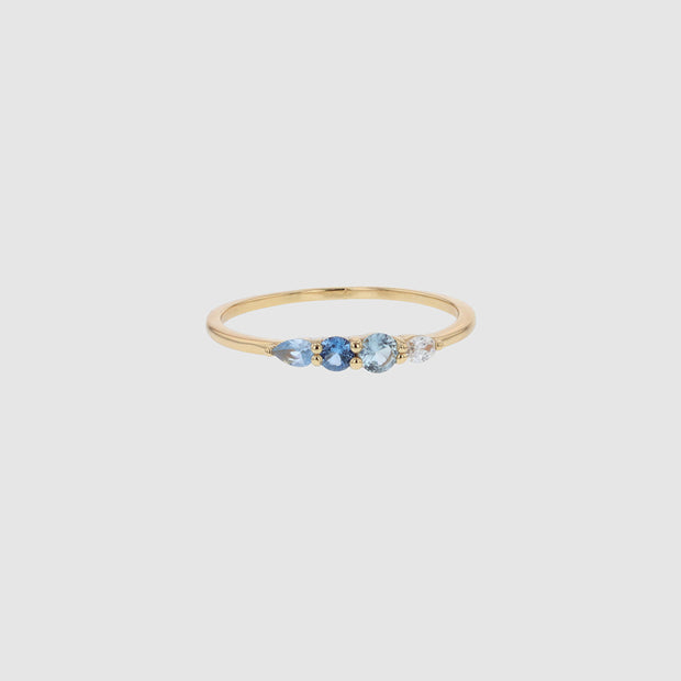 JOLIE & DEEN - Blue Crystal Ring Sterling, Silver/Gold - Makers On Mount