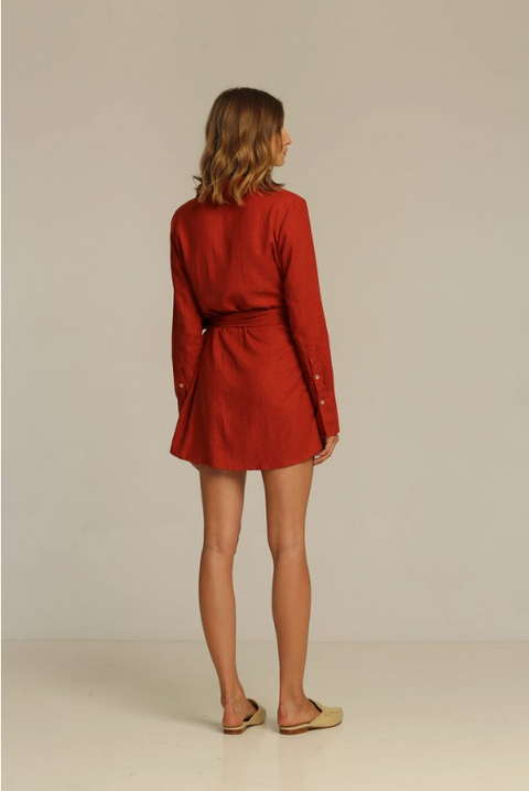 RUE STIIC - Joaquin Wrap Dress, Canyon Red - Makers On Mount