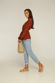 RUE STIIC -  Ruby Wrap Top, Sunrise Baliwood Brown - Makers On Mount