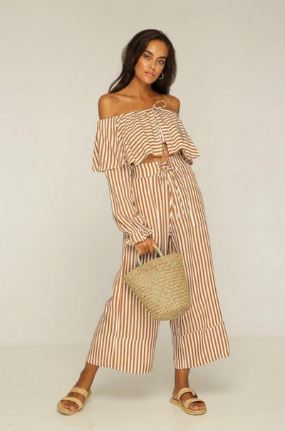 RUE STIIC - Cadillac Off Shoulder Top, Gold Stripe