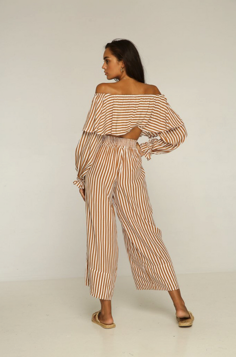 RUE STIIC - Cadillac Off Shoulder Top, Gold Stripe - Makers On Mount