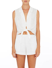 NUDE LUCY - Oasis Tie Front Top, White - Makers On Mount